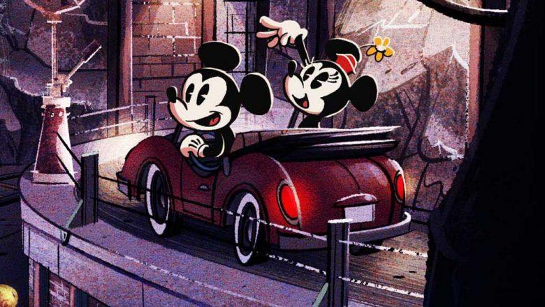 Mickey e Minnie, em desenho animado, dentro de um carro